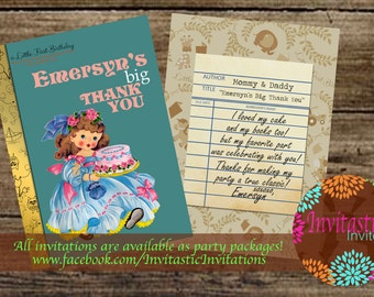 Storybook 1st Birthday Thank You Card- Vintage book birthday girl Thank You- Story book birthday party theme - Available for any age
