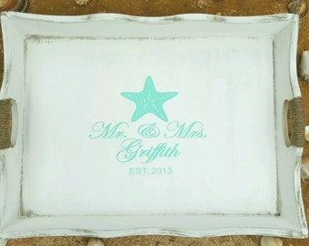 Engagement  Gift/ Beach Wedding/ Serving Tray/ Mr.&Mrs./ Wedding gift