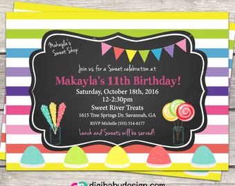 rainbow striped candy birthday invitation chalkboard, custom digital invitation files