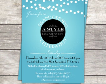 Event lights Open House Grand Opening invitation in teal white, custom colors avaliable, printable digital custom files