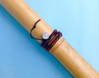 Friendship bracelet - 4 wrap bracelet - coral - gold stone - oulite - garnet - leather-closing rock crystal
