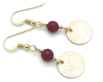 Rubies and Gold,Drop Earrings,Ruby,Red,Gold,Metal,Hook Earrings,Metal Stamping,Texture,Holiday,Charms,Gift for Her