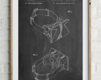 Oculus Rift Patent Poster, Gamer Gift, Game Room Wall Art, Virtual Reality, Teen Gift, PP0279