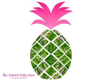 Preppy Pineapple clip art - Original Art download, whimsical pineapple clip art, preppy clip art, The Island Collection