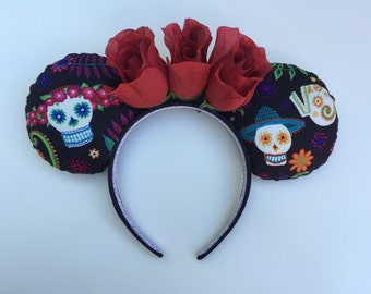 Dis de los Muertos Day of the Dead Sugar Skull Flower Minnie Mouse Ears