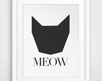 Meow, Cat Print, Cat Art Print, Meow Art, Black Cat Art, Black Cat Print, Kitten Art, Kitten Print, Meow Print, Cat Printable