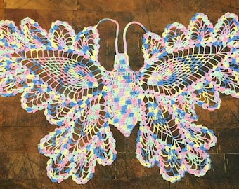 "Hand Crocheted 19"" by 11"" Multi-Color Butterfly"