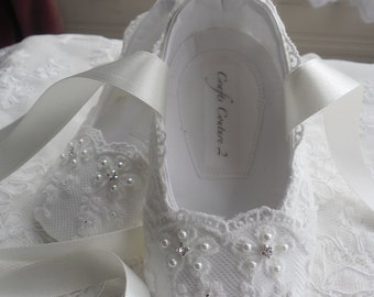 Off White Lace Christening shoes, Wedding, Flower Girl or Special Occasion Baby Girl Shoes.