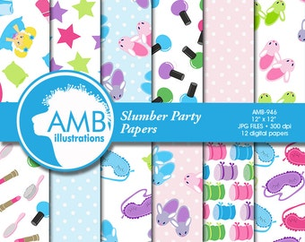 Slumber party Digital Papers, Sleep over scrapbook papers, Girls Spa Night, commercial use, AMB-946