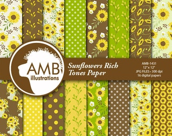 Sunflower digital papers, Floral papers, Sunflower Scrapbook papers, Reds, Yellows and Green Floral Papers, Commercial use, AMB-1431