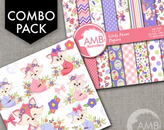COMBO Foxes Clipart and Digital Papers Pack, Forest animals, Floral Clipart, Vixen and Pups images, Commercial Use, AMB-1615