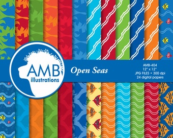 Ocean papers, Nautical digital papers, Nautical papers, waves paper, fish paper, beach paper, commercial-use, AMB-404