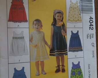McCalls 4042, sizes 4-6, childrens, girls, dress, summer wear, UNCUT sewing pattern, craft supplies