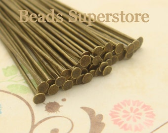2 Inch (50 mm) Antique Bronze Head Pin - Nickel Free and Lead Free - 100 pcs (PP2AB)