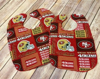 Handmade San Francisco 49ers Reversible Cotton & Minky Baby or Toddler Bib