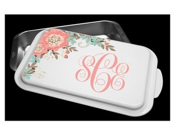 Custom Cake Pan- Flowers - Personalize With Your Text or Monogram