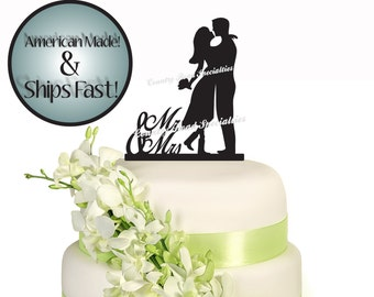 Silhouette Mr and Mrs Romantic Couple Short Dress Wedding Cake Topper #Sil510
