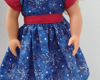 18 Inch Doll Clothes/18 Inch Doll Dress/18 Inch Soft Body Doll Clothes/Red White and Blue 4th of July Dress with Silver Sparkle