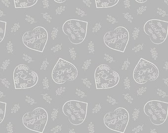 Lewis & Irene Patchwork Quilting Fabric Dove House A166.1 - Chalk hearts on dove grey