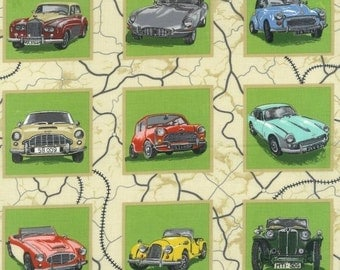 Patchwork Quilting Fabric Nutex British Car Squares