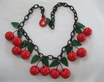 Stunning Resin French Designed Dangling Cherry Necklace
