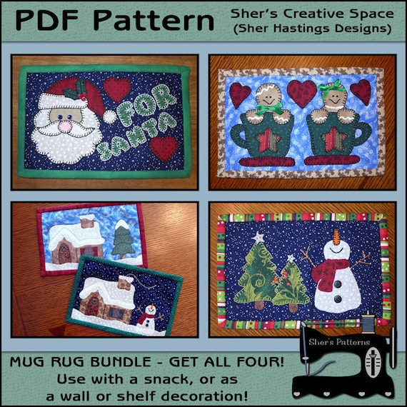 PDF Pattern For Christmas Mug Rug Bundle Vol 2 Mug Rug