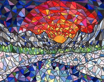 Mountain Sunset Landscape Watercolour Painting Print Stained Glass Wall Decor Modern Mosaic Giclee