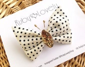 Butterfly Bow, Summer Bows, Polka Dot Bows, Cream and Black Headband, Butterfly Clip, Black and White Bows, Unique Bows, Ruby Lovely Shop