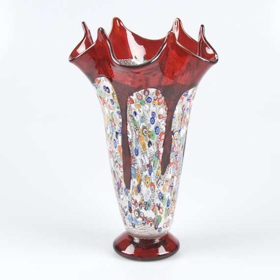 murano glass vase red genuine italian vase trademark of. Black Bedroom Furniture Sets. Home Design Ideas