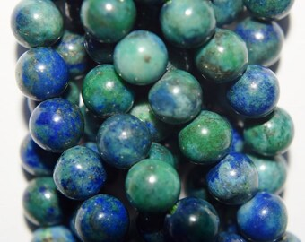 "Genuine Azurite Malachite Beads - Round 6 mm Gemstone Beads - Full Strand 15 1/2"", 61 beads, A+Quality"
