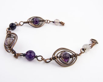 Wire wrapped bracelet - Copper and amethysts bracelet - Wire wrapped jewelry - Copper jewelry