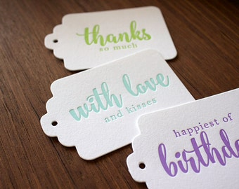 Letterpress Gift Tags - 4 Pack