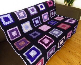 Crochet Blanket Throw Blanket Throw For Sofa Throw For Couch Purple Throw Blanket Purple Blanket