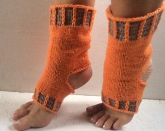 orange Yoga Socks Hand Knit Pilates Socks orange  Socks Dance Socks Slipper Socks Women Socks  Colorful Hipster Socks Yoga active wear
