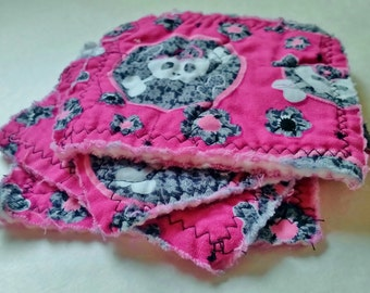 Set of Four Sugar Skull Coasters, Handmade Quilted Fabric Skull Coasters, Pink