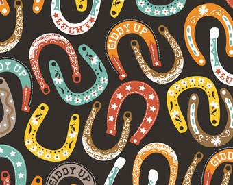 Half Yard Luckie - Lucky Charm in Black - Horseshoes Cotton Quilt Fabric - by Maude Asbury for Blend Fabrics - 101.115.02.1 (W3451)