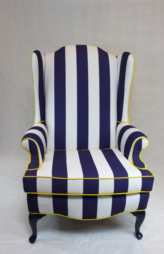 Sold Blue And White Striped Wing Back Chair With Bright