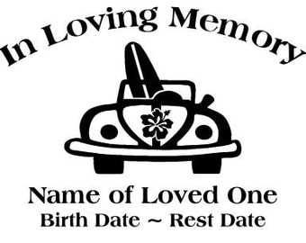 In Loving Memory Surf Board Car Beach Decal Sticker