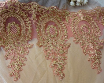 Gold Corded Alencon Lace, Red Tulle Lace Trim, Wedding Lace Applique, Bridal Veils Trim