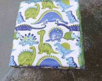 Dinos in Blue and Green Flannel Receiving or Swaddling Blanket, Double Layer, 2 Layer Serged Blanket, Crib or Stroller Blanket