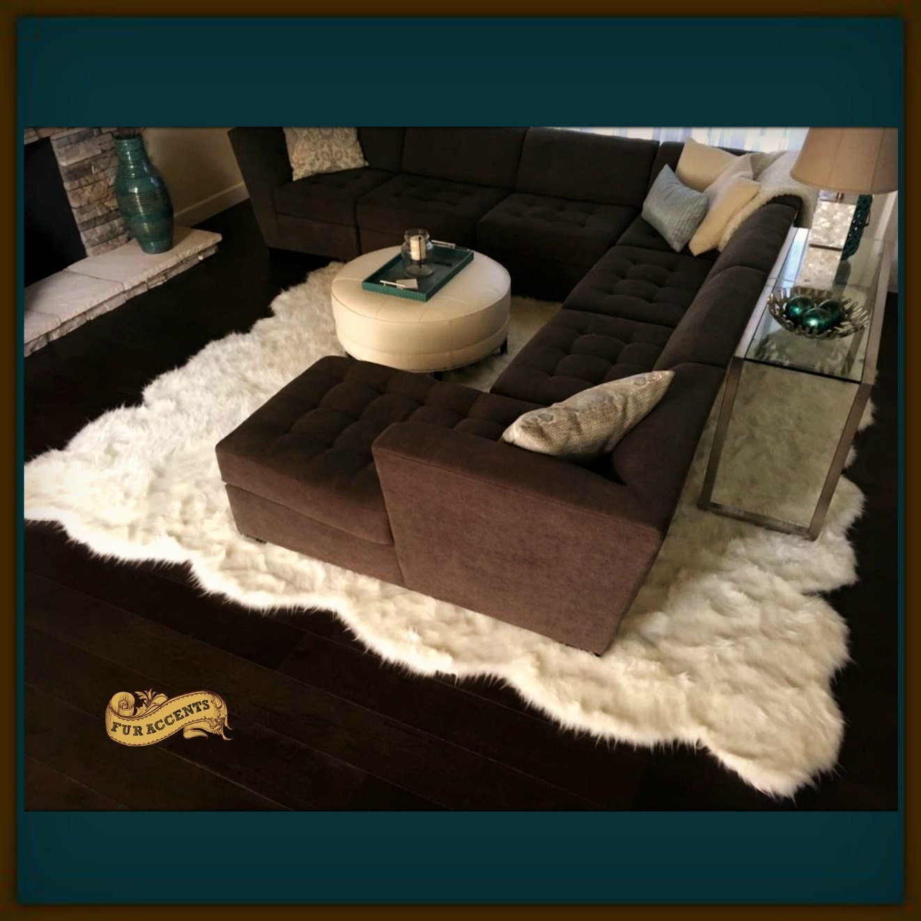 larger faux fur area rug plush shaggy sheepskin carpet. Black Bedroom Furniture Sets. Home Design Ideas