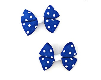 Blue Hair Bows, Blue Hair Clips, Blue Mini Hair Bows, Blue Polka Dot Bows, Blue Baby Bows, Blue Baby Hair bows, Royal Blue Hair Bows