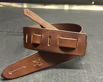 Custom Handmade Leather Guitar Strap / Dark Brown Leather Guitar Strap