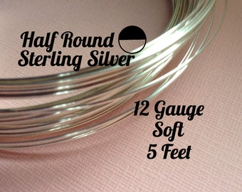 15% Off Sale! Sterling Silver Wire, HALF ROUND 12 Gauge, Soft, 5 Feet, WHOLESALE