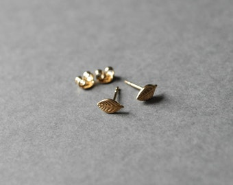 Gold Tiny Leaf Stud Earrings - Gold plated over Sterling Silver