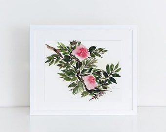 rose blooms watercolor art print