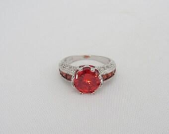 Vintage Jewelry Orange Fire Opal & White Topaz Ring Size 7