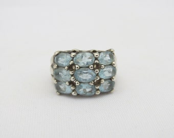 Vintage Sterling Silver Natural Aquamarine Multi Row Dome Ring Size 8