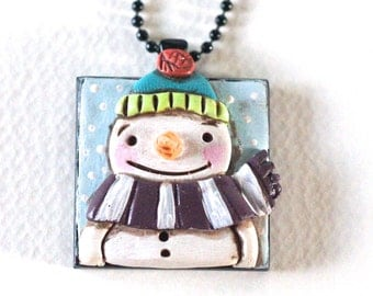 Original Snowman Folk Art Necklace with Turquoise Hat in Square Black Bezel setting