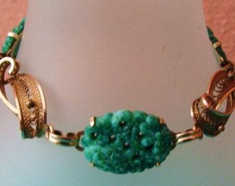 Carved jade and gold filled link bracelet